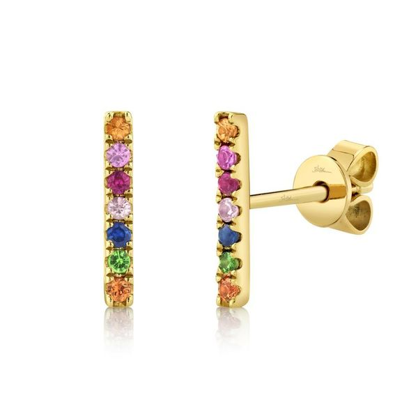 Shy Creation Yellow Gold & Multi-Stone Bar Stud Earrings SVS Fine Jewelry Oceanside, NY