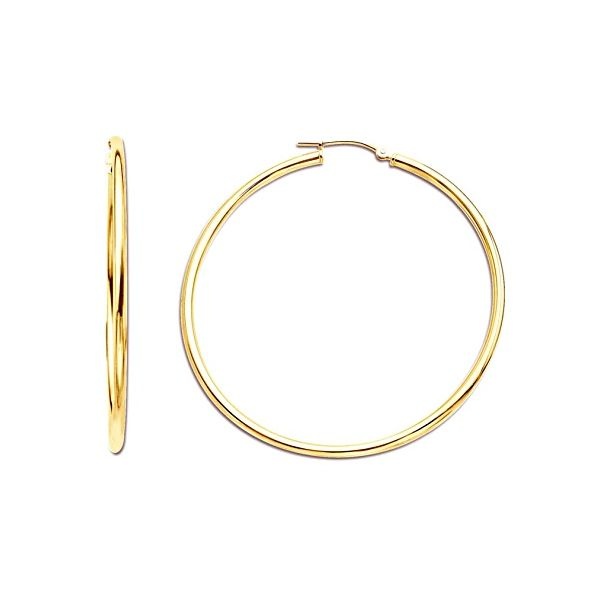 14K Yellow Gold Polished Hoops 35 mm SVS Fine Jewelry Oceanside, NY