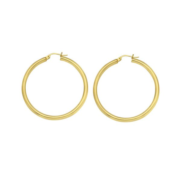 14K Yellow Gold High Polish Hoop Earrings 3/25 mm SVS Fine Jewelry Oceanside, NY