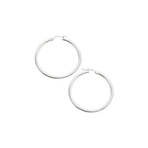 14K White Gold Polished Hoops 35 mm SVS Fine Jewelry Oceanside, NY