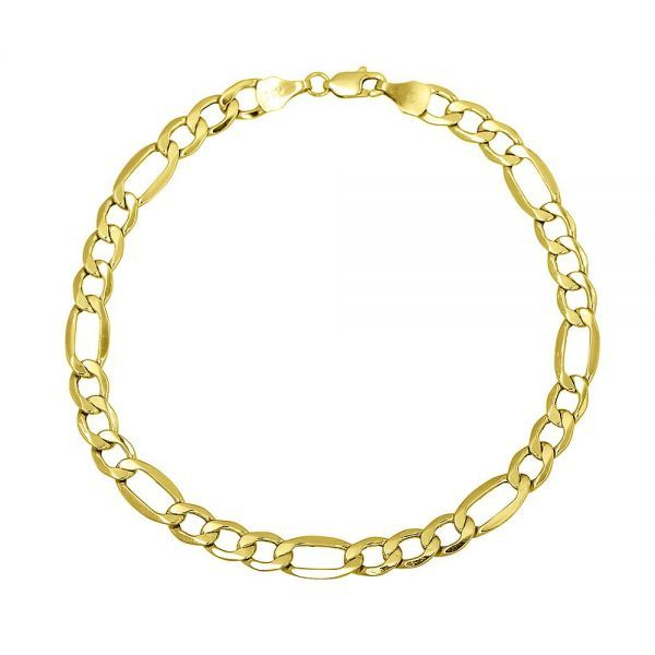 14K Yellow Gold Figaro Bracelet With Lobster Lock, 8