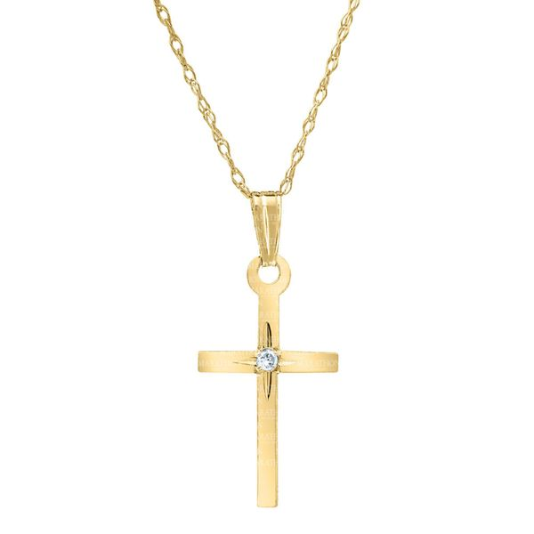 Kiddie Kraft 14K Yellow Gold Cross Image 2 SVS Fine Jewelry Oceanside, NY