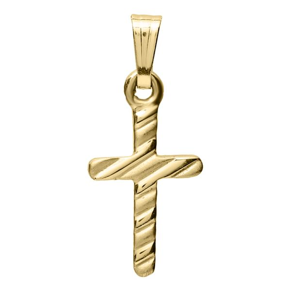 Kiddie Kraft 14K Yellow Gold Diagonal Lined Cross, 15