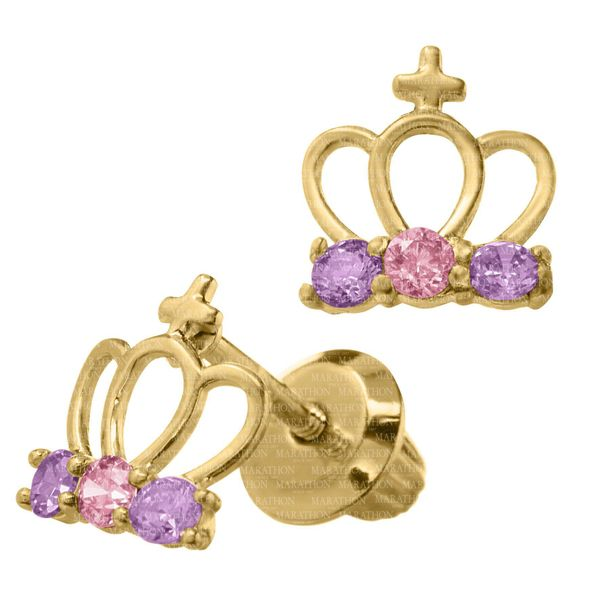 Kiddie Kraft 14K Yellow Gold Crown Earrings Image 2 SVS Fine Jewelry Oceanside, NY