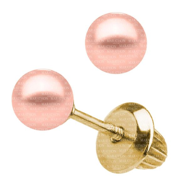 Kiddie Kraft 14K Yellow Gold Pink Dye Pearl Earrings Image 2 SVS Fine Jewelry Oceanside, NY