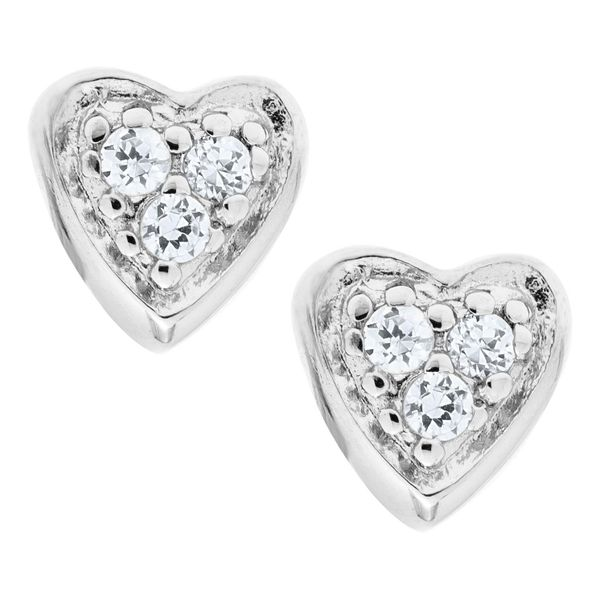 Kiddie Kraft Sterling Silver CZ Heart Earrings SVS Fine Jewelry Oceanside, NY