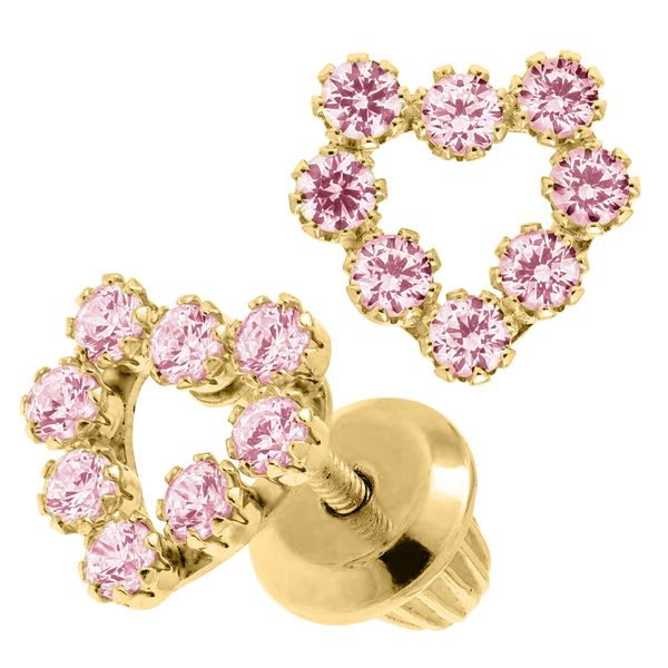 Kiddie Kraft 14K Yellow Gold & Pink CZ Heart Earrings Image 2 SVS Fine Jewelry Oceanside, NY