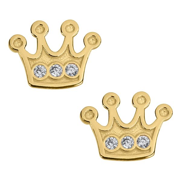 Kiddie Kraft 14K Yellow Gold & CZ Crown Earrings SVS Fine Jewelry Oceanside, NY