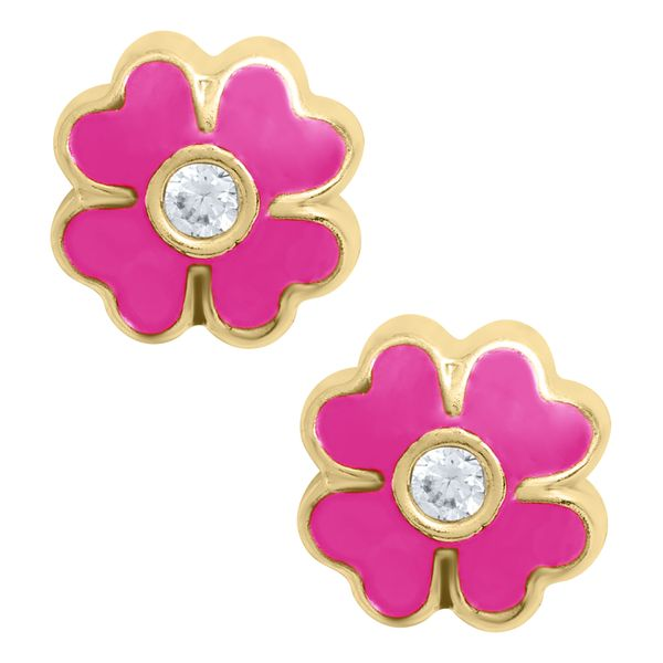 Kiddie Kraft 14K Yellow Gold & CZ Flower Earrings SVS Fine Jewelry Oceanside, NY