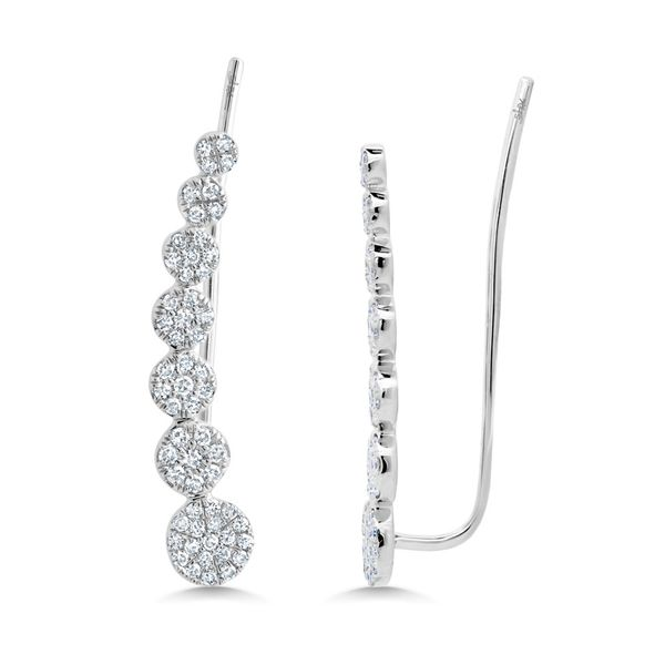 White Gold And Diamond Ear Crawler Earrings Image 2  ,