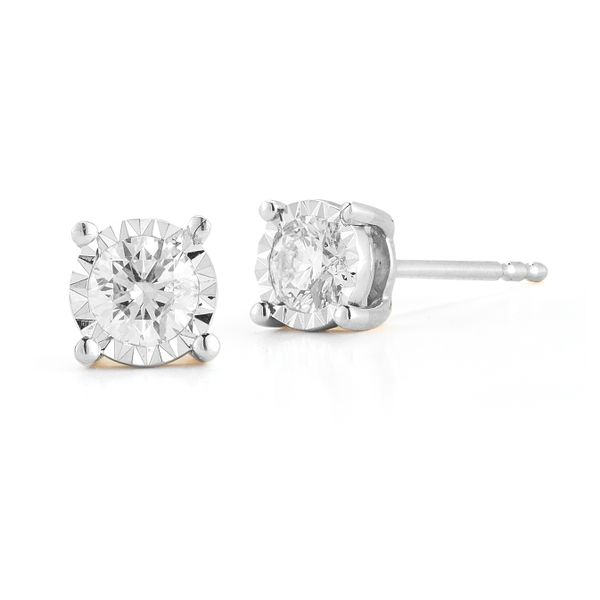 14K White Gold and Diamond Studs, 0.49cttw SVS Fine Jewelry Oceanside, NY