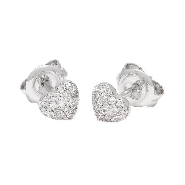 14K White Gold Micro Pave Diamond Heart Studs, 0.10Cttw SVS Fine Jewelry Oceanside, NY