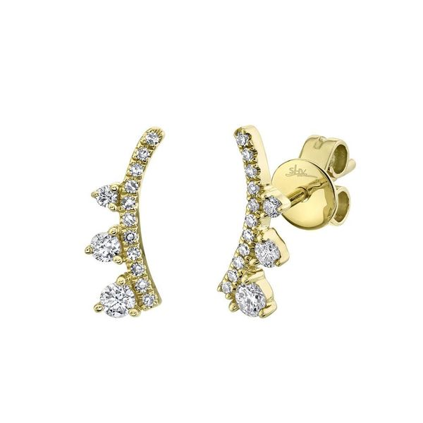 Shy Creation Yellow Gold and Diamond Ear Crawler Stud Earrings SVS Fine Jewelry Oceanside, NY