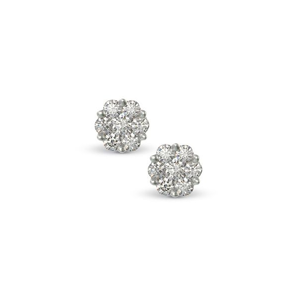 10K White Gold Diamond Flower Cluster Stud Earrings SVS Fine Jewelry Oceanside, NY