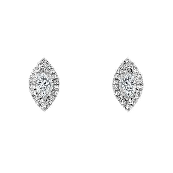 SVS Signature Halo Collection Marquise Halo Diamond Studs SVS Fine Jewelry Oceanside, NY
