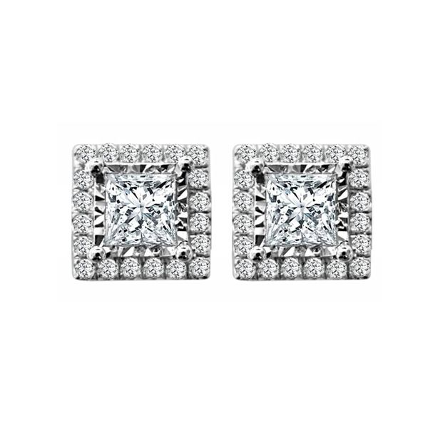 SVS Signature Halo Collection Princess Halo Diamond Studs SVS Fine Jewelry Oceanside, NY
