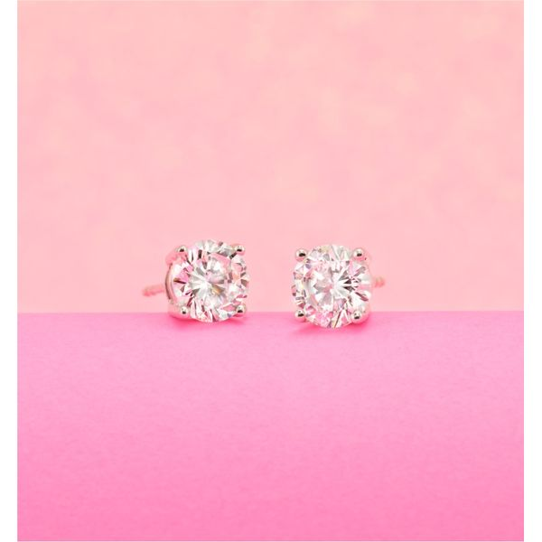 Diamond Round Classic Solitaire Stud Earrings Image 2 SVS Fine Jewelry Oceanside, NY