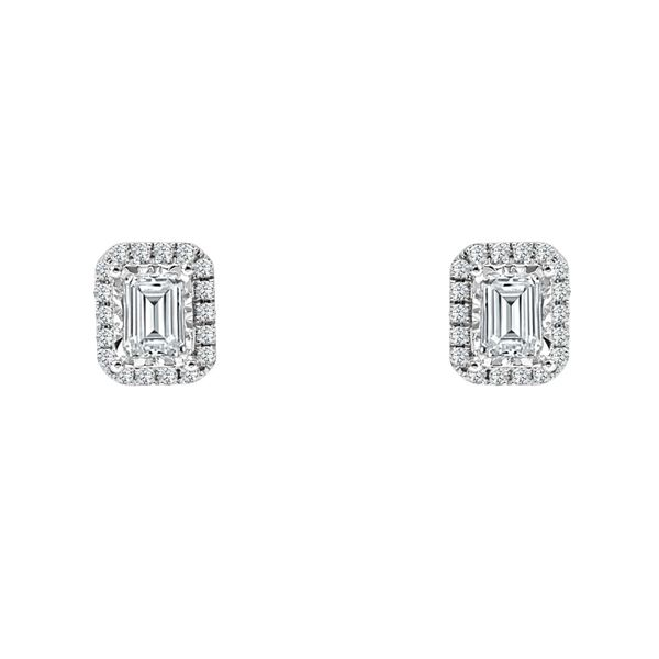 SVS Signature Halo Collection Emerald Halo Diamond Studs SVS Fine Jewelry Oceanside, NY