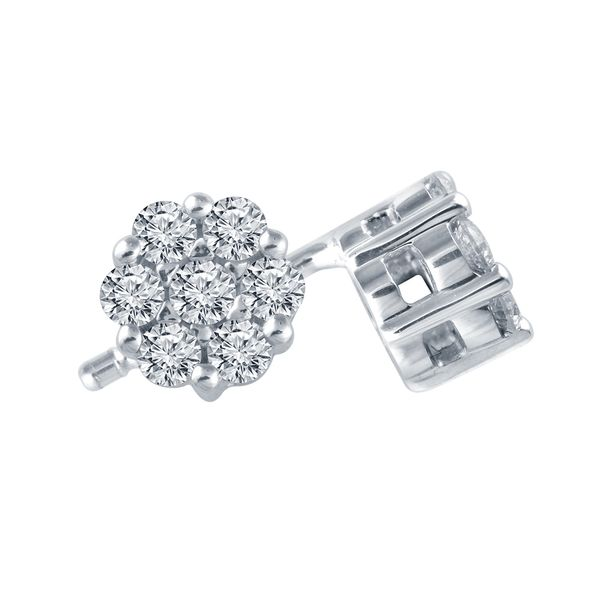 SVS Signature 14K White Gold Diamond Cluster Earrings SVS Fine Jewelry Oceanside, NY