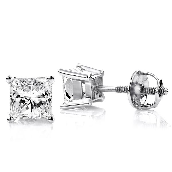 14K White Gold Princess Diamond Stud Earrings SVS Fine Jewelry Oceanside, NY