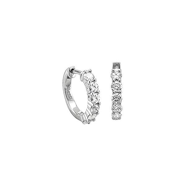White Gold Miracle Set Diamond Hoop Earrings, .15cttw SVS Fine Jewelry Oceanside, NY