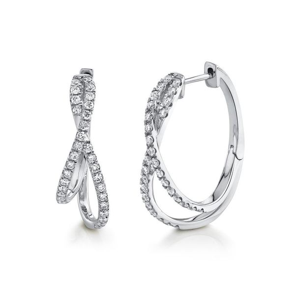 Shy Creation White Gold Diamond Intertwined Hoop Earrings SVS Fine Jewelry Oceanside, NY