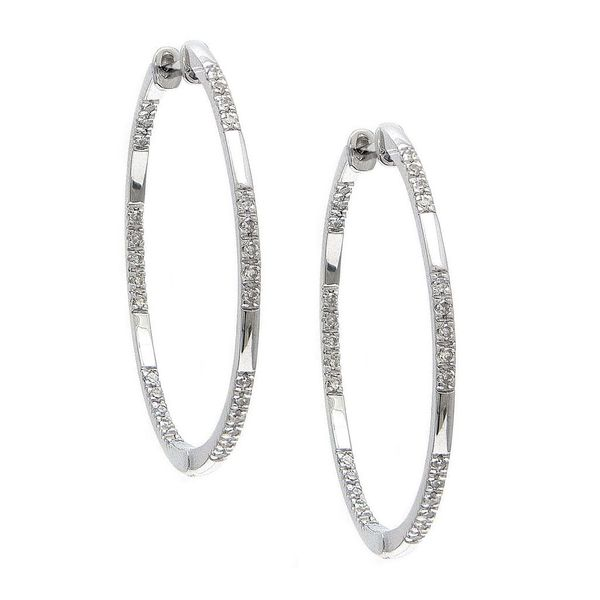 14K White Gold Inside Outside Diamond Hoops, 0.20Cttw SVS Fine Jewelry Oceanside, NY
