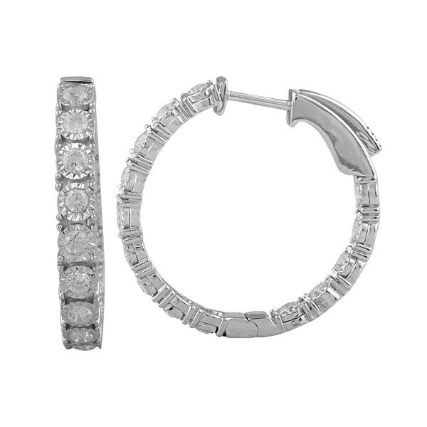 14K White Gold and Diamond Round Hoop Earrings SVS Fine Jewelry Oceanside, NY