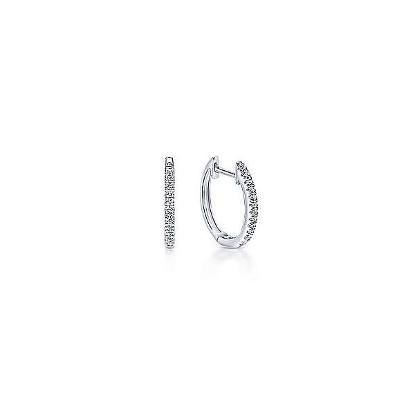 Gabriel & Co. Lusso 14K White Gold Huggie Earrings SVS Fine Jewelry Oceanside, NY