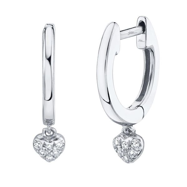Shy Creation White Gold And Diamond Pave Heart Earrings SVS Fine Jewelry Oceanside, NY