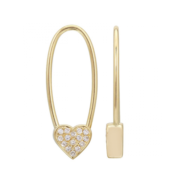 14K Yellow Gold & Diamond Heart Safety Pin Huggies SVS Fine Jewelry Oceanside, NY