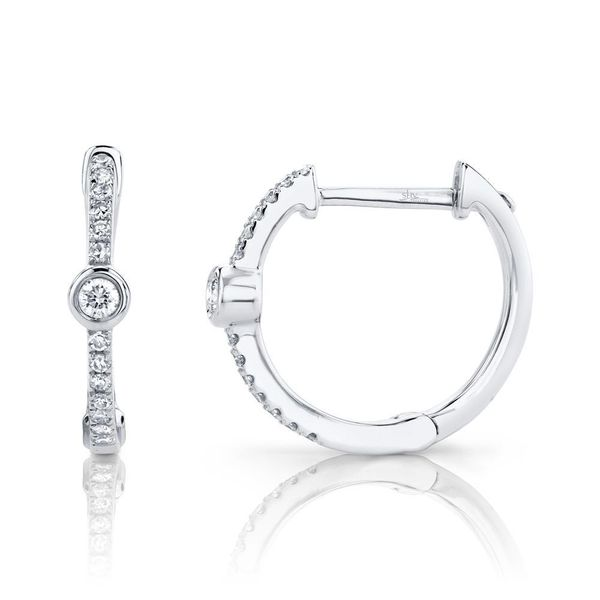 Shy Creation White Gold Diamond Bezel Huggie Earrings Image 2 SVS Fine Jewelry Oceanside, NY