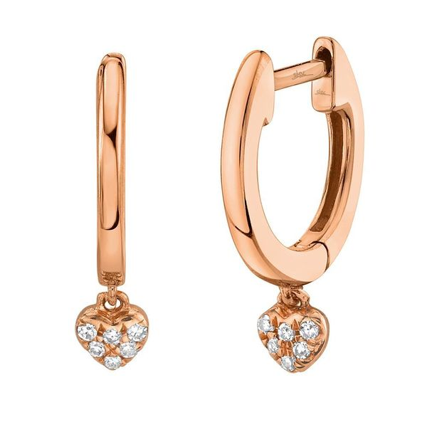 Shy Creation Rose Gold Diamond Pave Heart Huggie Earrings SVS Fine Jewelry Oceanside, NY
