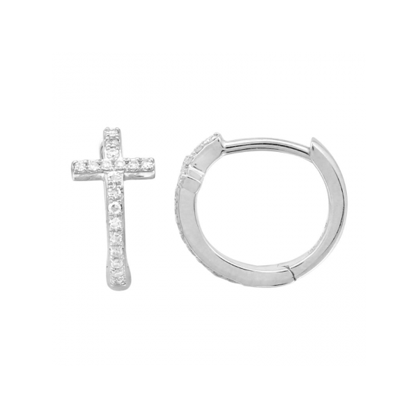 14K White Gold & Diamond Cross Huggies, 0.09Cttw SVS Fine Jewelry Oceanside, NY