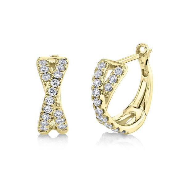 Shy Creation Yellow Gold Diamond X Huggie Earrings SVS Fine Jewelry Oceanside, NY