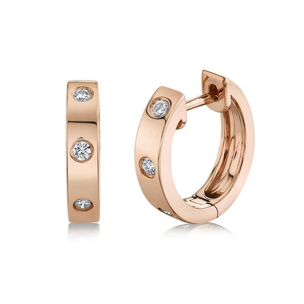Shy Creation 14K Rose Gold And Diamond Huggie Earrings SVS Fine Jewelry Oceanside, NY