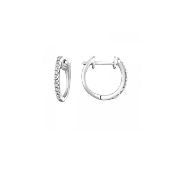 10K White Gold Diamond Round Shaped Huggie Earrings SVS Fine Jewelry Oceanside, NY