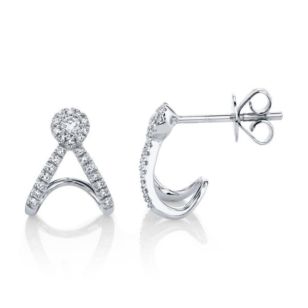 Shy Creation 14K White Gold And Diamond Earrings Image 2 SVS Fine Jewelry Oceanside, NY