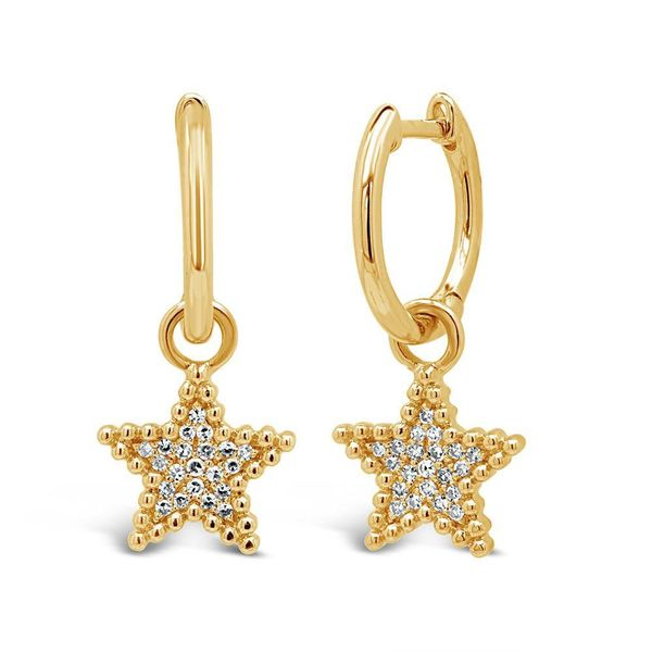 Shy Creation 14K Yellow Gold and Diamond Star Earrings SVS Fine Jewelry Oceanside, NY