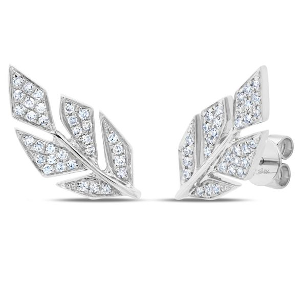 Shy Creation Diamond Pave Leaf Earrings, .14ctw SVS Fine Jewelry Oceanside, NY