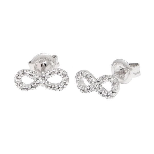 White Gold Micro Pave Diamond Infinity Studs, 0.09Cttw SVS Fine Jewelry Oceanside, NY