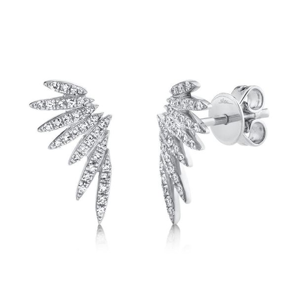 Shy Creation White Gold Angel Wing Diamond Earrings SVS Fine Jewelry Oceanside, NY