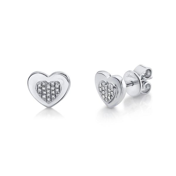 Shy Creation 14K White Gold And Diamond Heart Studs SVS Fine Jewelry Oceanside, NY