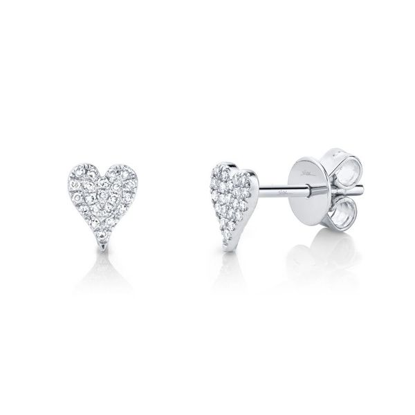 Shy Creation 14K White Gold and Diamond Heart Earrings SVS Fine Jewelry Oceanside, NY