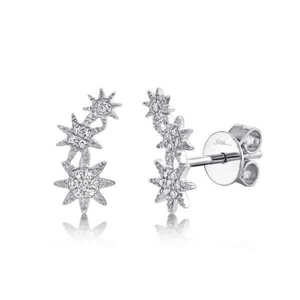 Shy Creation 14K White Gold and Diamond Star Earrings SVS Fine Jewelry Oceanside, NY