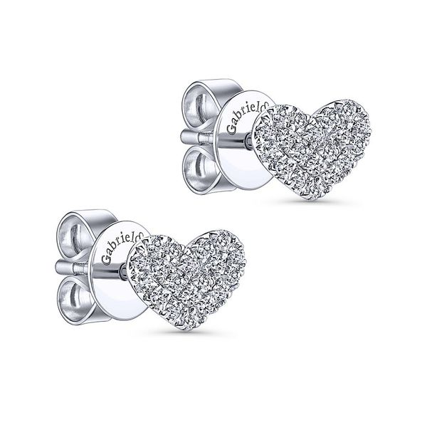 Gabriel & Co. Classic 14K White Gold Diamond Earrings Image 2 SVS Fine Jewelry Oceanside, NY