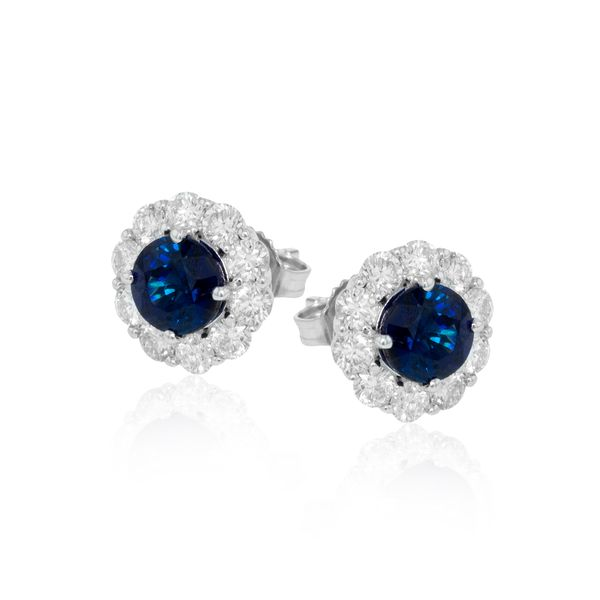 Simon G. 18K White Gold, Diamond, And Sapphire Earrings SVS Fine Jewelry Oceanside, NY