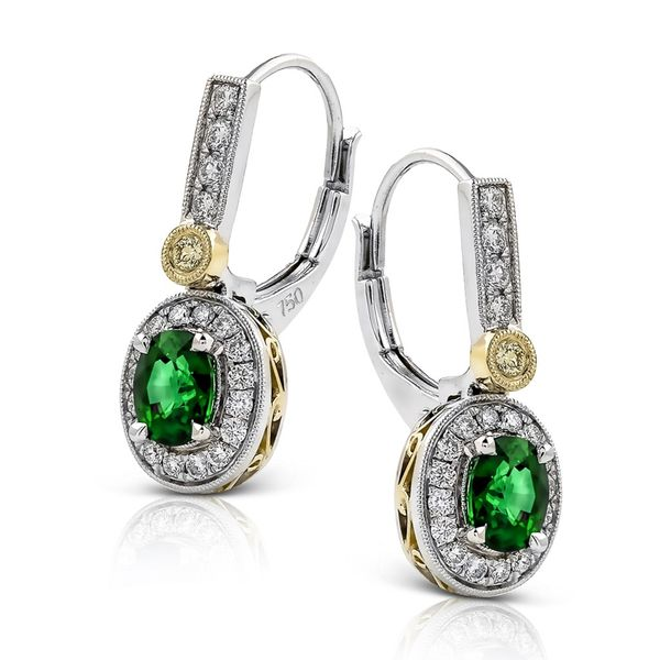 Simon G. 18K White & Yellow Gold And Emerald Earrings SVS Fine Jewelry Oceanside, NY