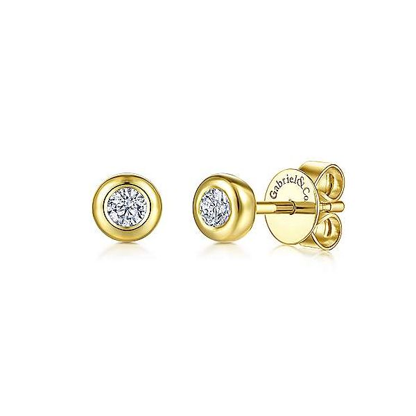 Gabriel Lusso Color Yellow Gold White Sapphire Earrings SVS Fine Jewelry Oceanside, NY