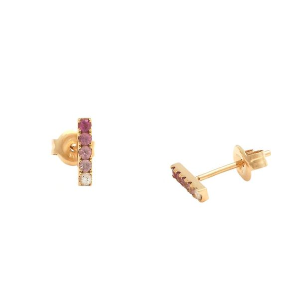 14K Yellow Gold Pink Sapphire Rainbow Bar Earrings SVS Fine Jewelry Oceanside, NY